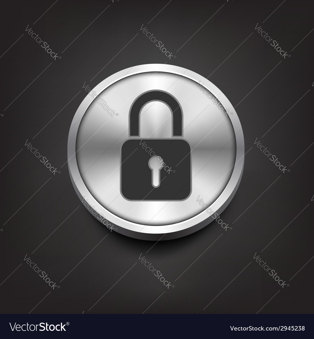 Closed lock icon on silver button vector | Price: 1 Credit (USD $1)