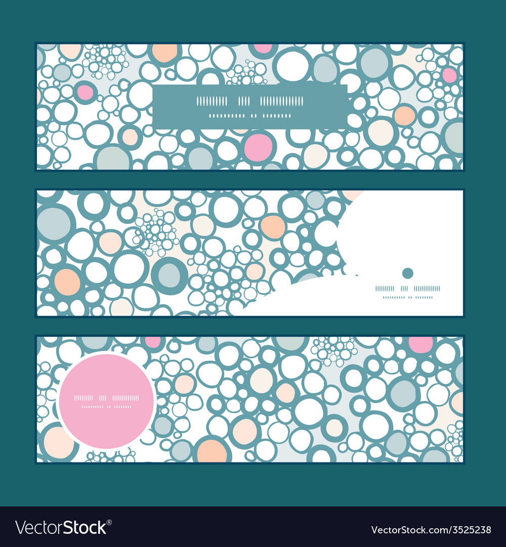 Colorful bubbles horizontal banners set pattern vector | Price: 1 Credit (USD $1)
