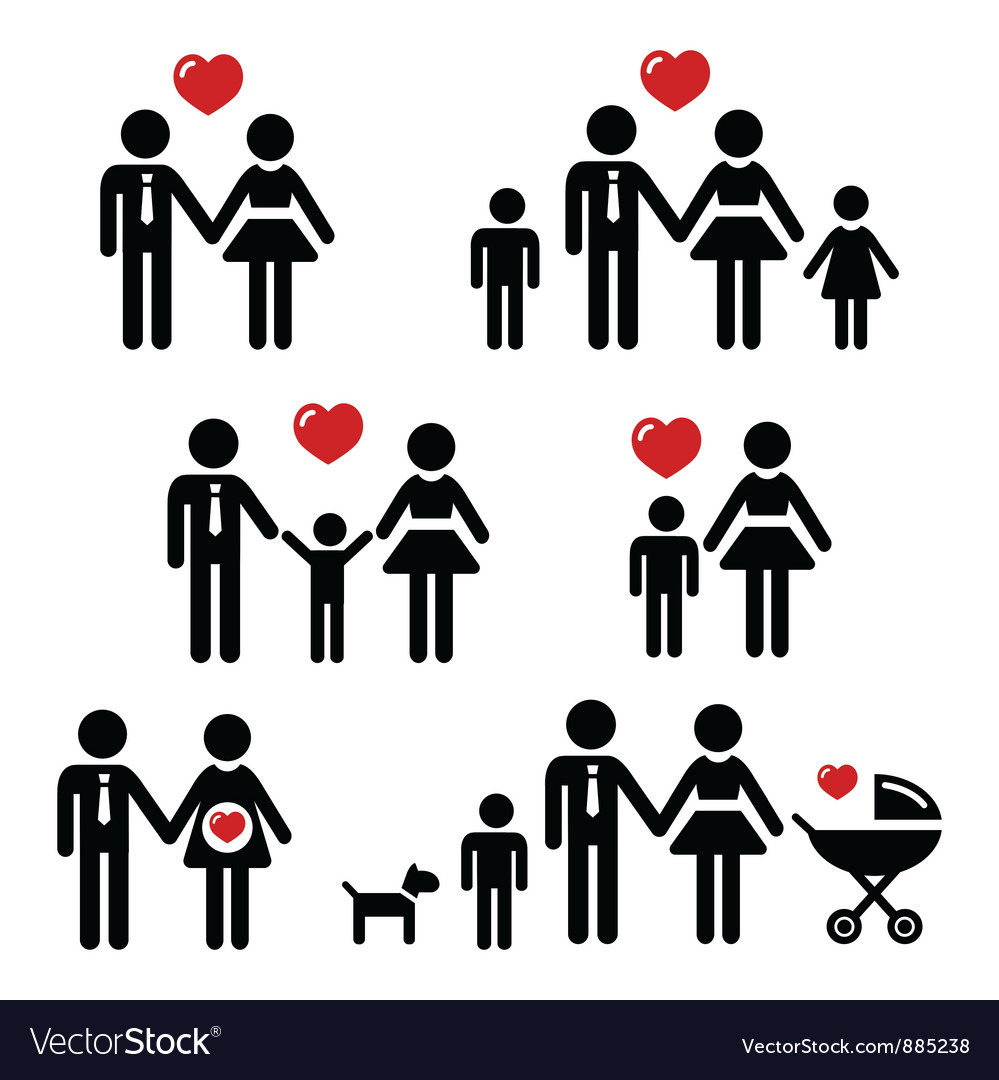 Family people icons vector | Price: 1 Credit (USD $1)