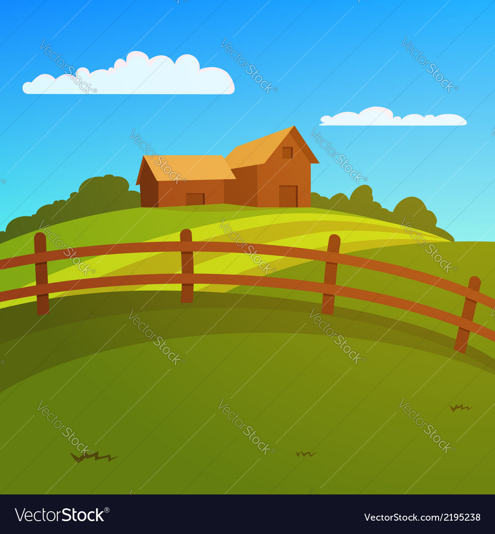 Farm landscape vector | Price: 3 Credit (USD $3)