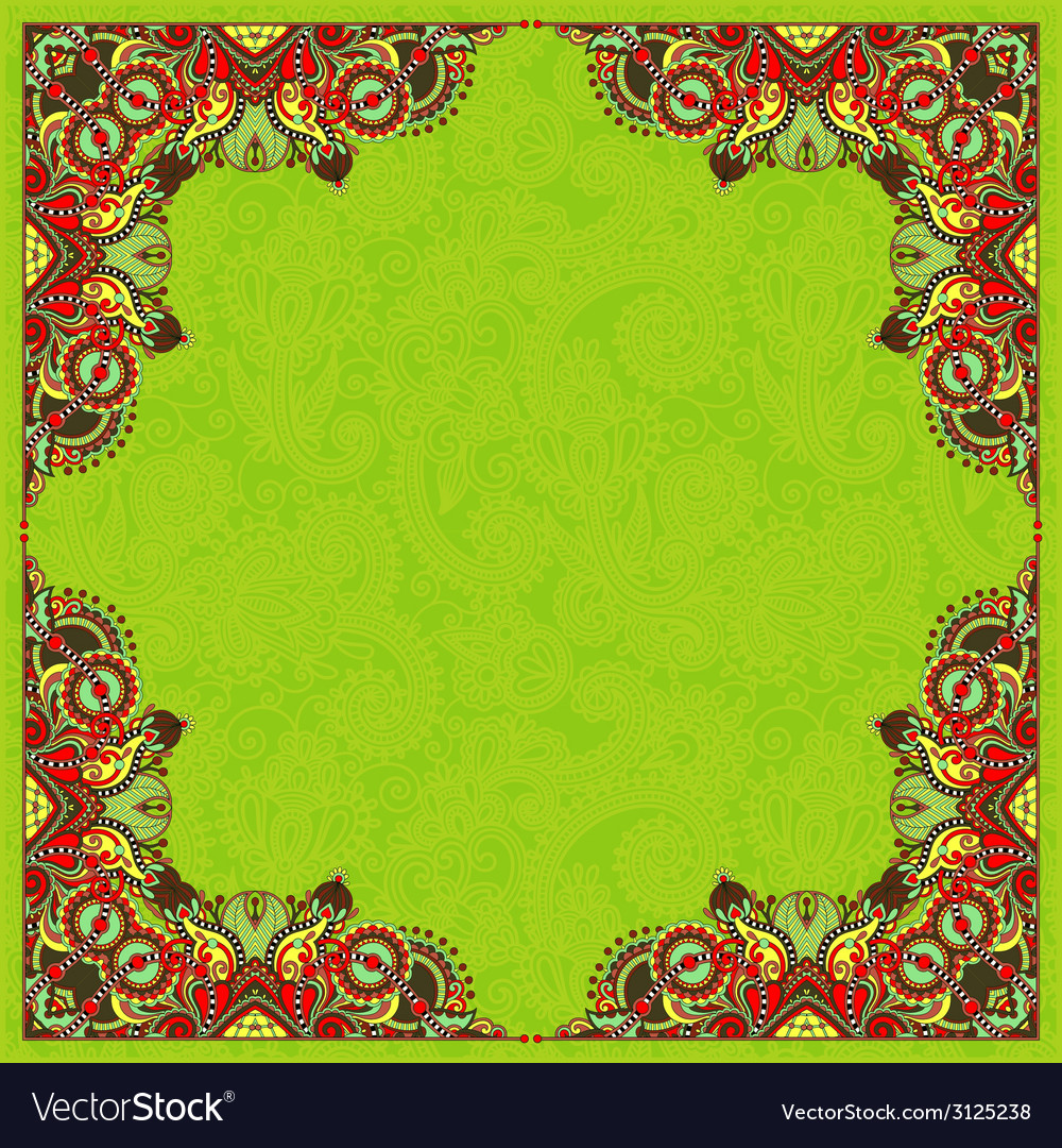 Floral vintage frame ukrainian ethnic style vector   Price: 1 Credit (USD $1)
