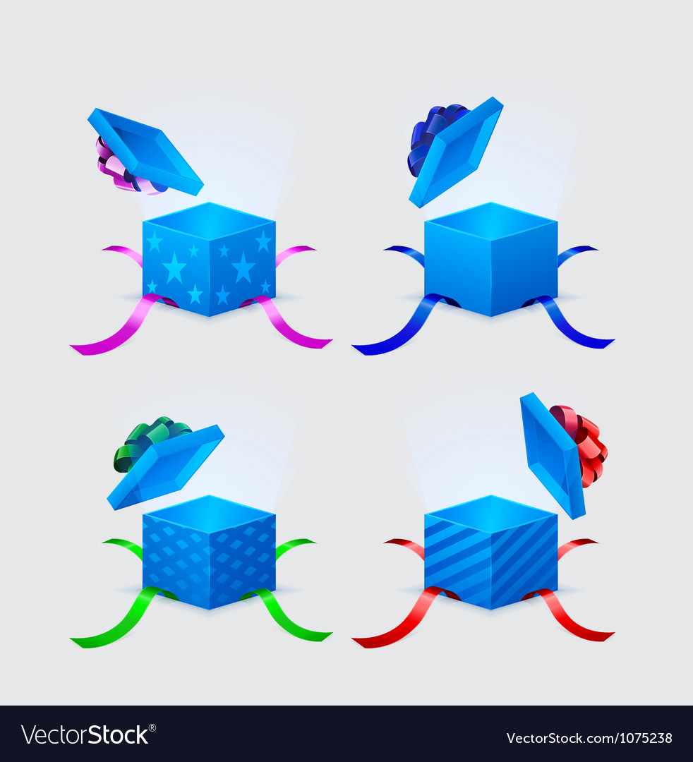 Four gift boxes and flying cap with ribbons and vector | Price: 1 Credit (USD $1)