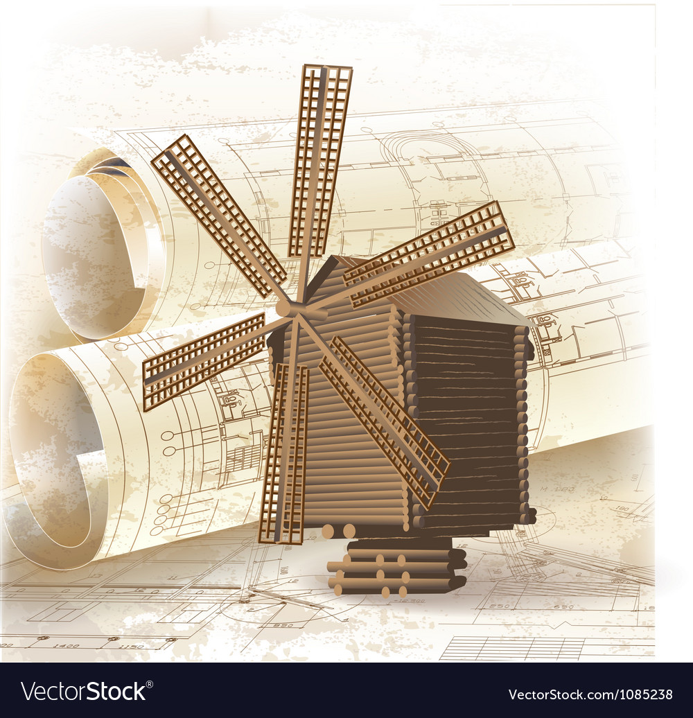 Grunge architectural background with a windmill vector | Price: 3 Credit (USD $3)