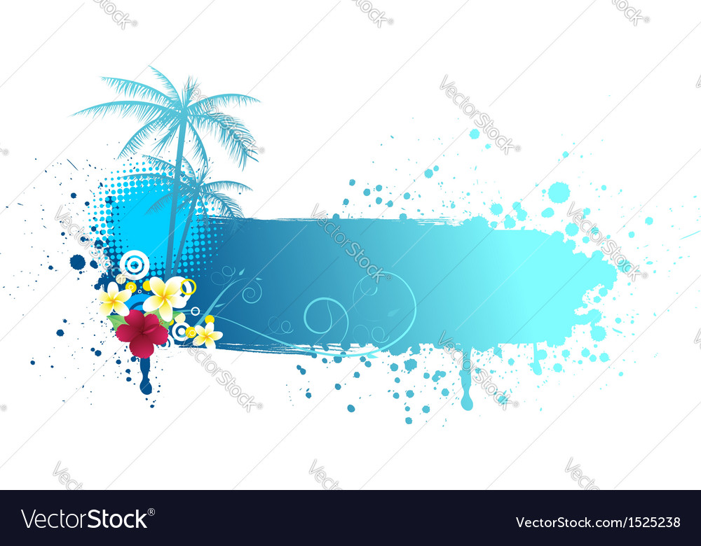 Grunge blue banner with palms vector | Price: 1 Credit (USD $1)
