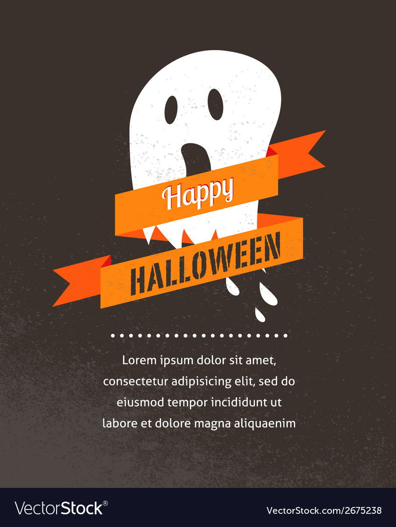 Halloween cute poster with ghost vector | Price: 1 Credit (USD $1)