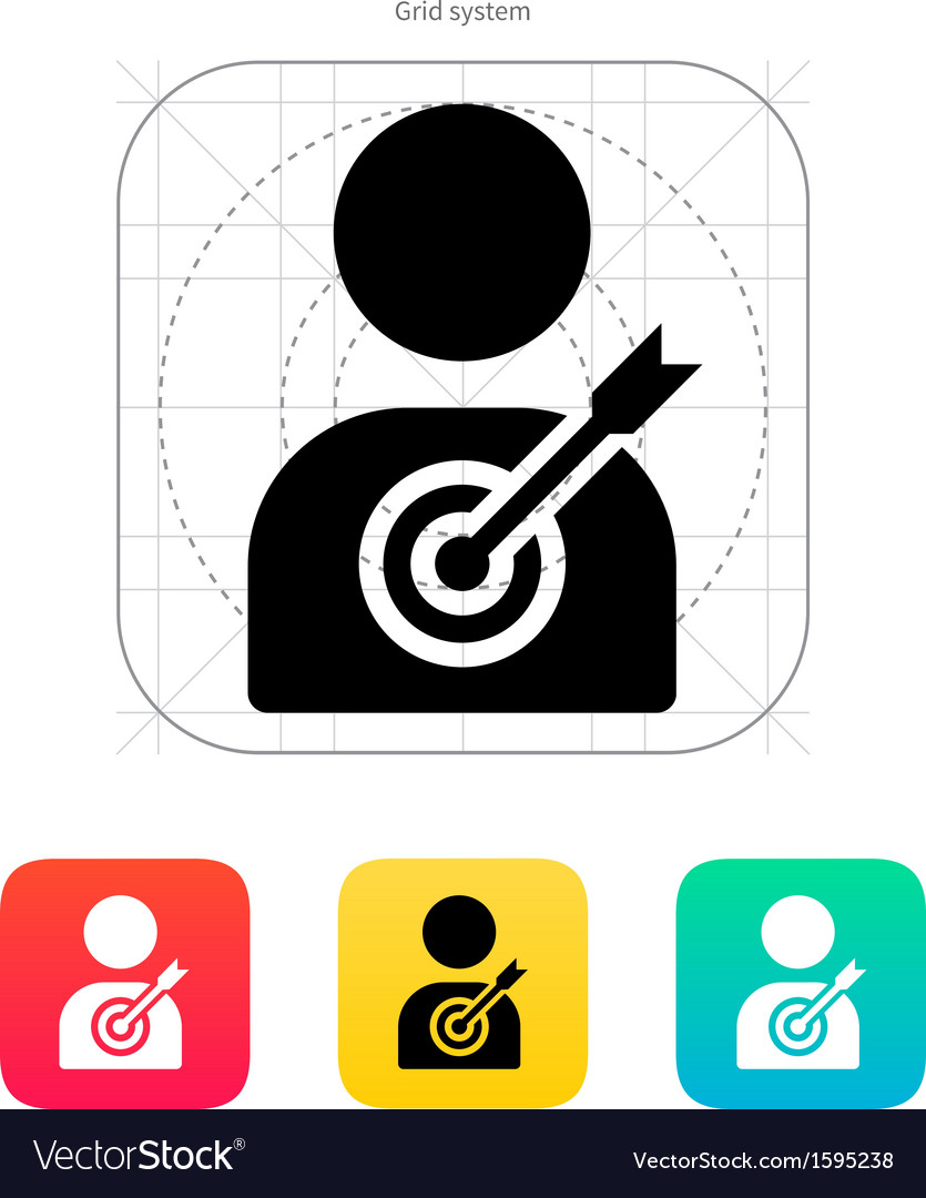 Human silhouette target icon vector | Price: 1 Credit (USD $1)