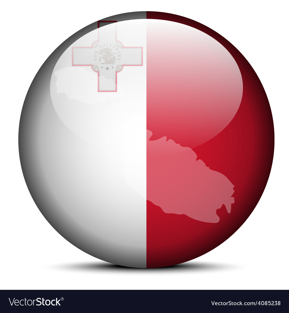 Map on flag button of malta vector | Price: 1 Credit (USD $1)