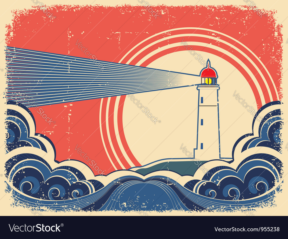 Seascape with lighthouse grunge poster vector | Price: 1 Credit (USD $1)