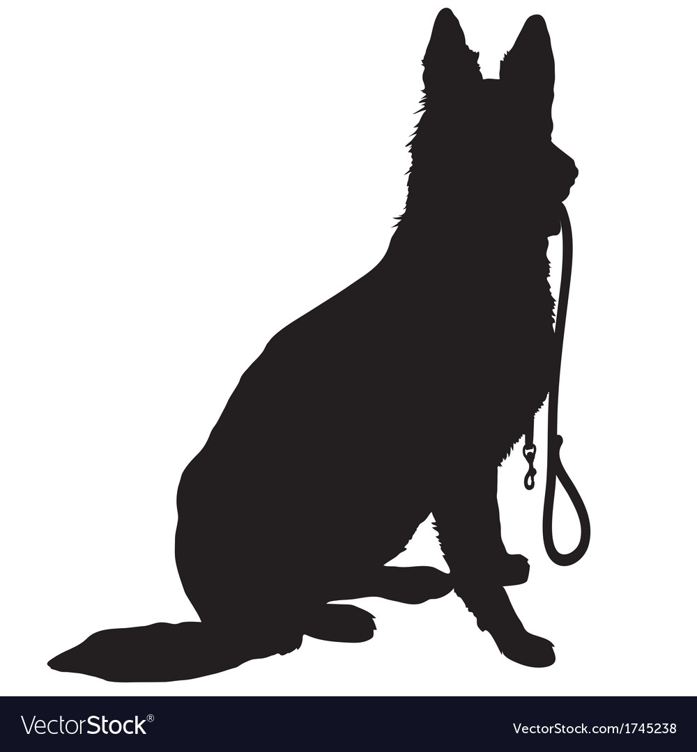 Shepherd with leash vector