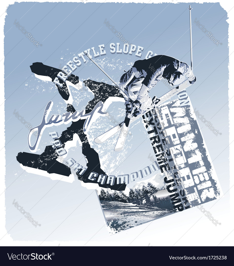 Ski jump slope style vector | Price: 1 Credit (USD $1)