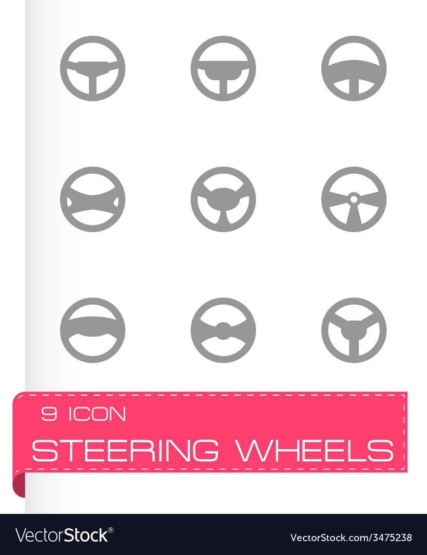 Steering wheels icon set vector | Price: 1 Credit (USD $1)