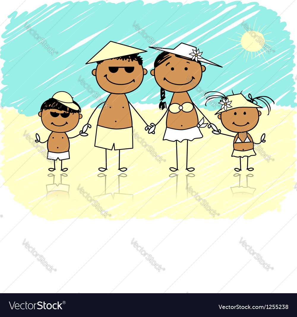 Summer holidays happy family on the beach vector | Price: 1 Credit (USD $1)