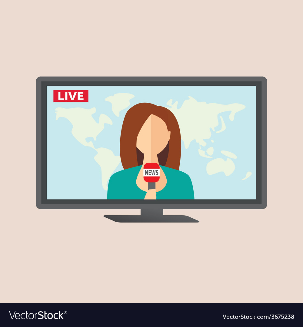 Television anchorwoman at studio during live vector | Price: 1 Credit (USD $1)