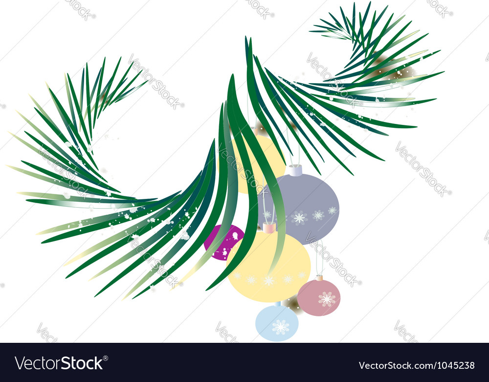 Twig spruce with christmas toys vector | Price: 1 Credit (USD $1)