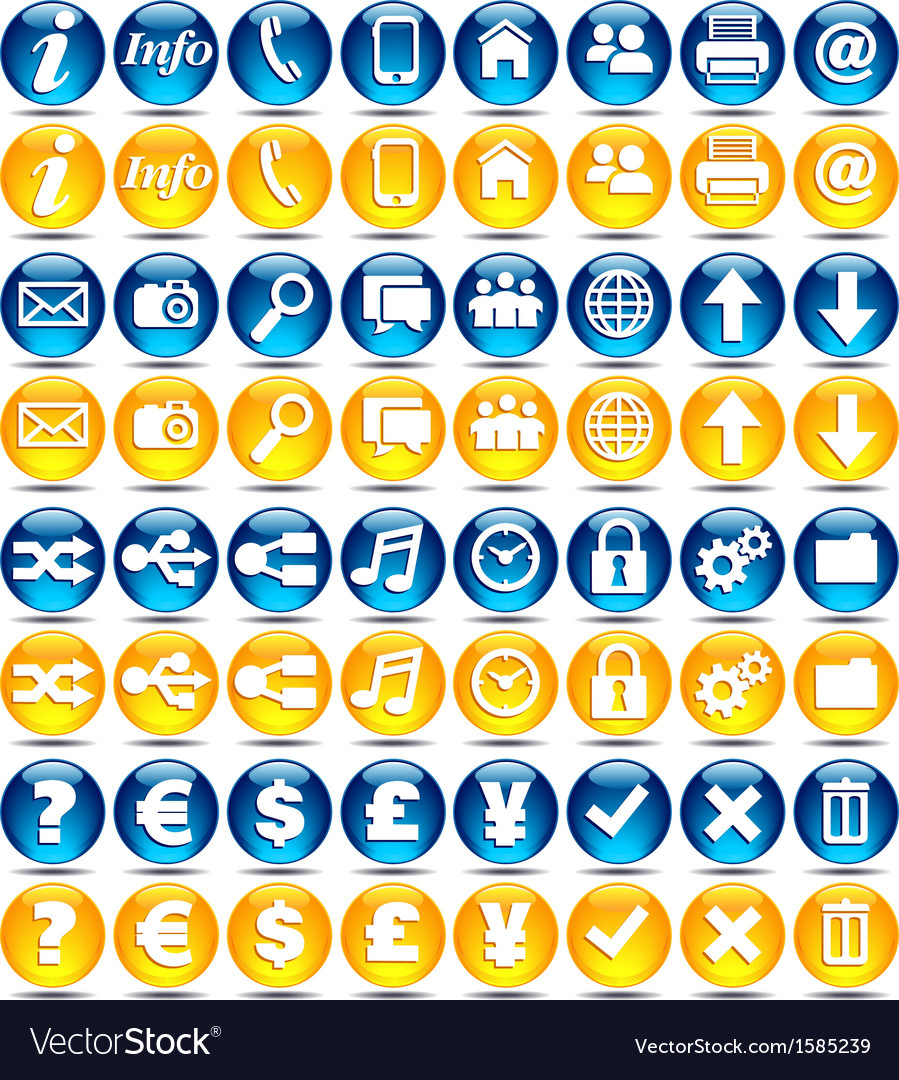 32 blue and orange icons vector | Price: 1 Credit (USD $1)