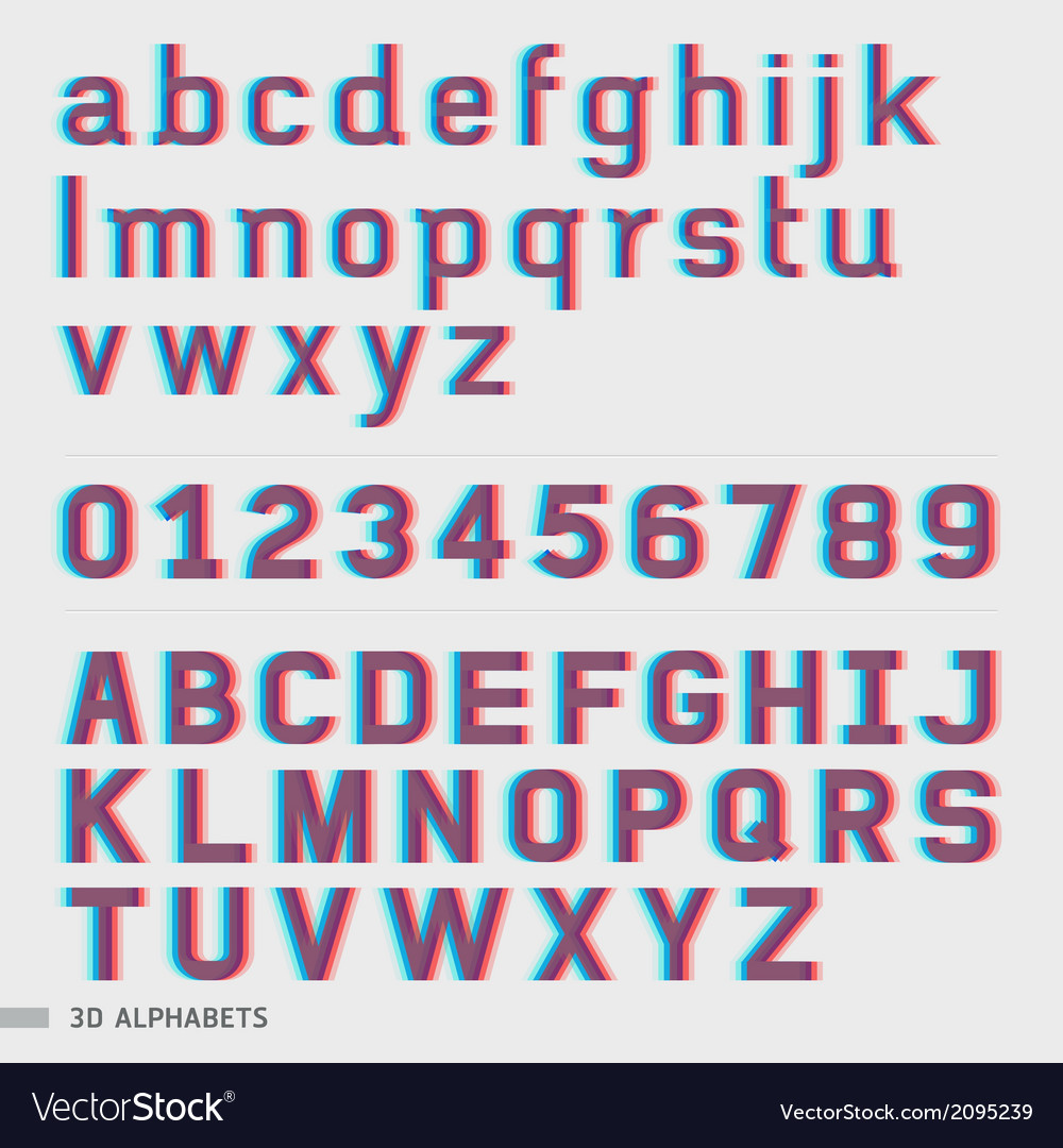 3d alphabet and numbers font style vector | Price: 1 Credit (USD $1)