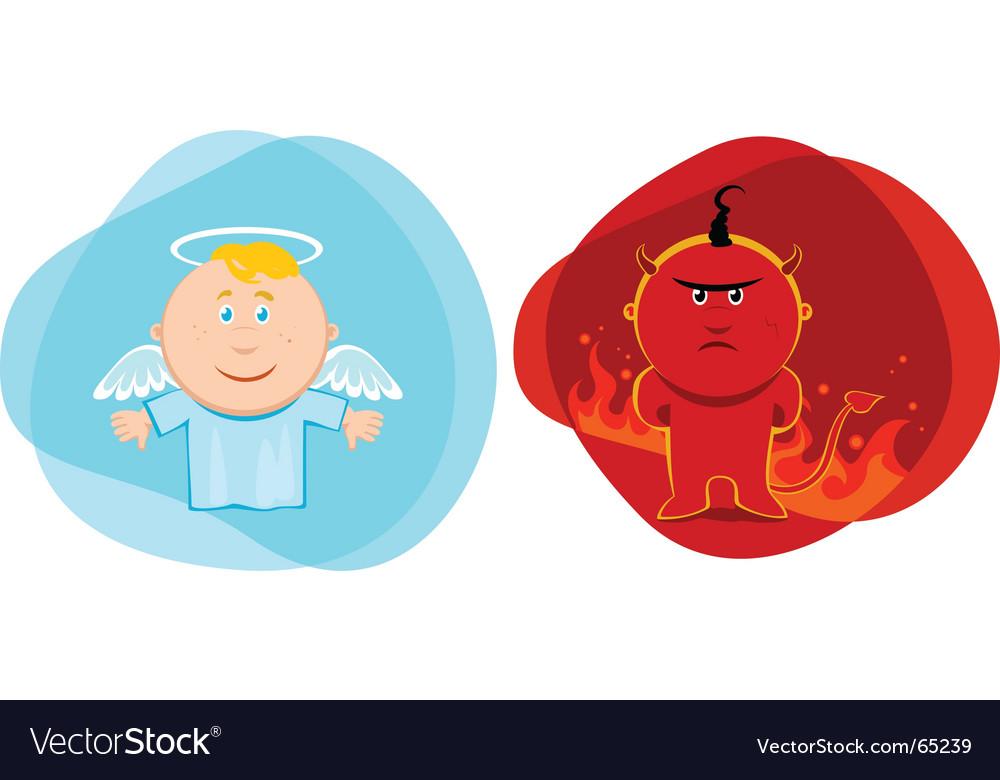 Angel and devil kids vector | Price: 1 Credit (USD $1)