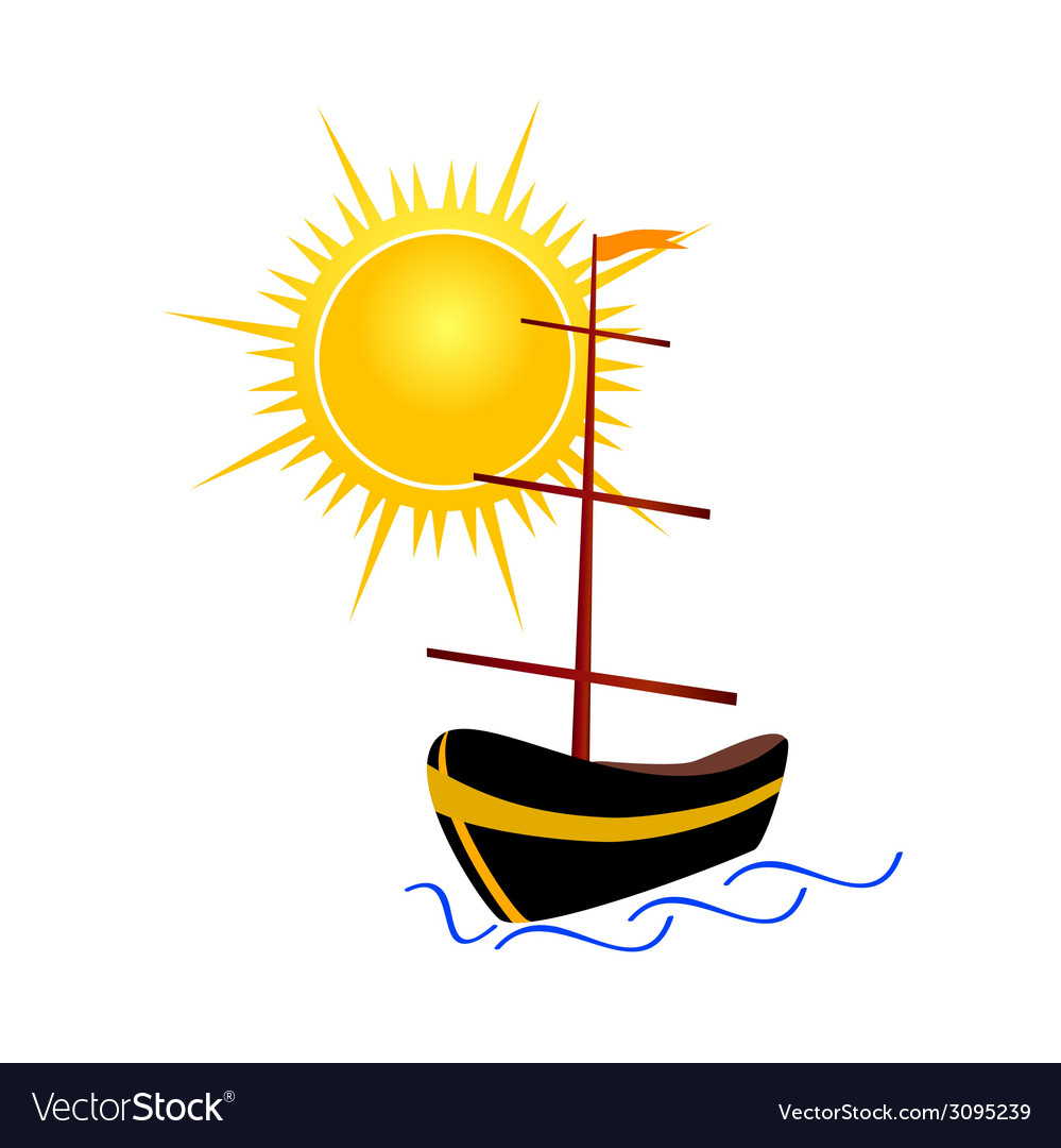 Boat with sun vector | Price: 1 Credit (USD $1)