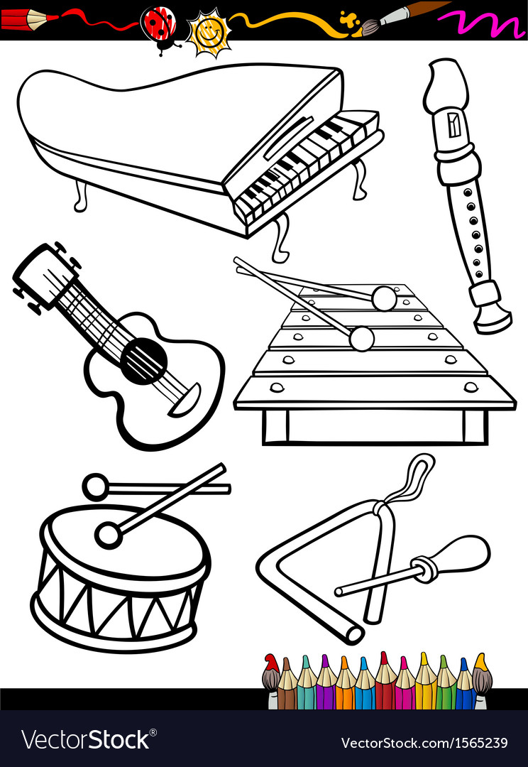 Cartoon music instruments coloring page vector | Price: 1 Credit (USD $1)