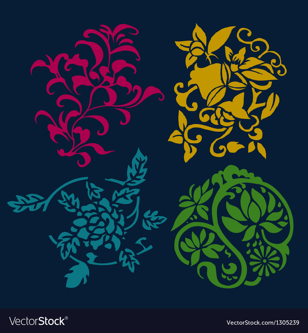 Different styles of flower and plant symbol sets vector | Price: 1 Credit (USD $1)
