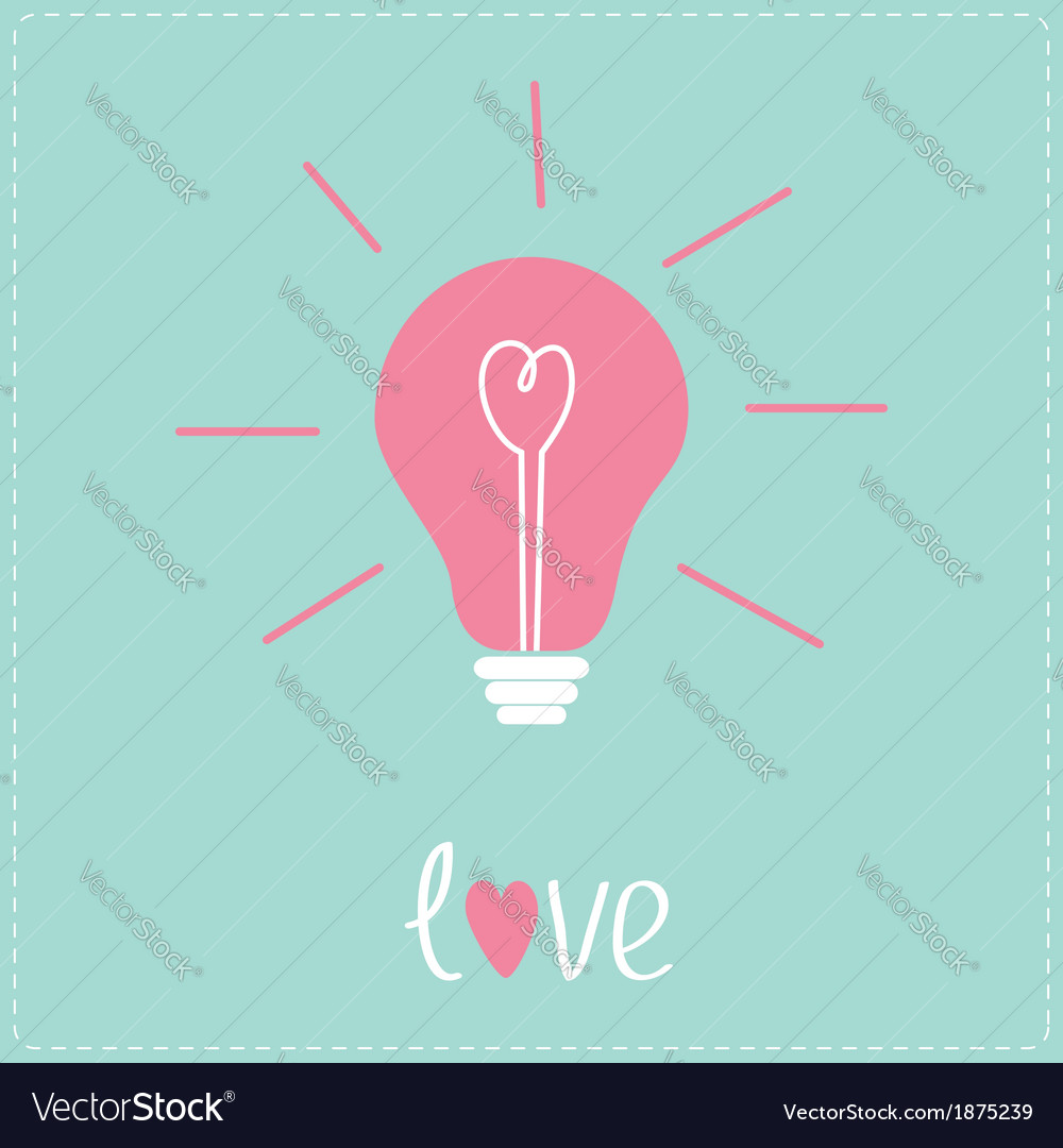 Light bulb with heart inside idea concept love vector | Price: 1 Credit (USD $1)