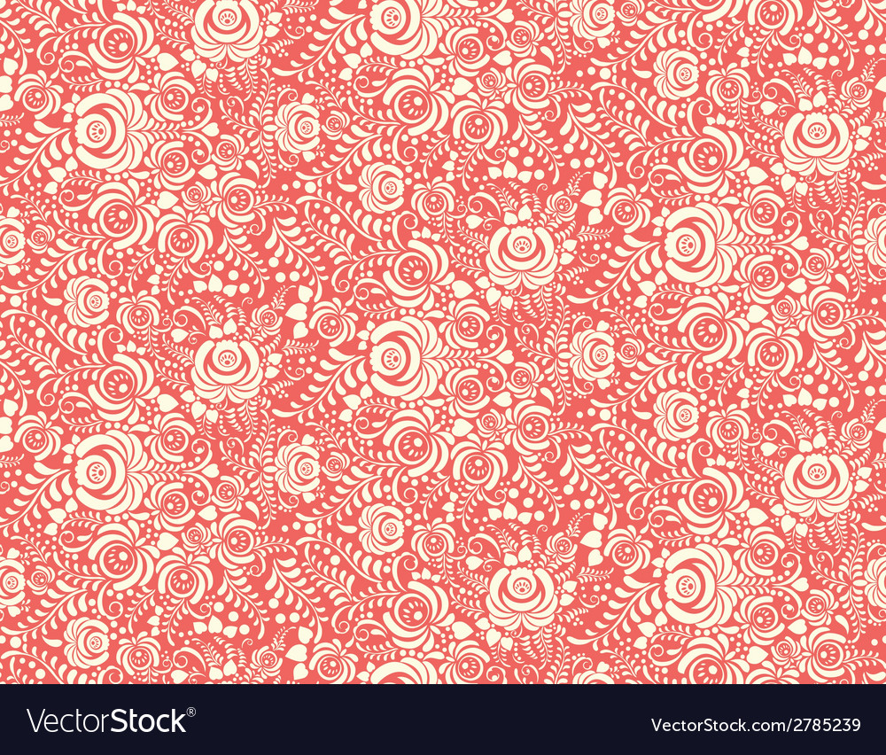 Red floral textile seamless pattern in gzhel style vector | Price: 1 Credit (USD $1)