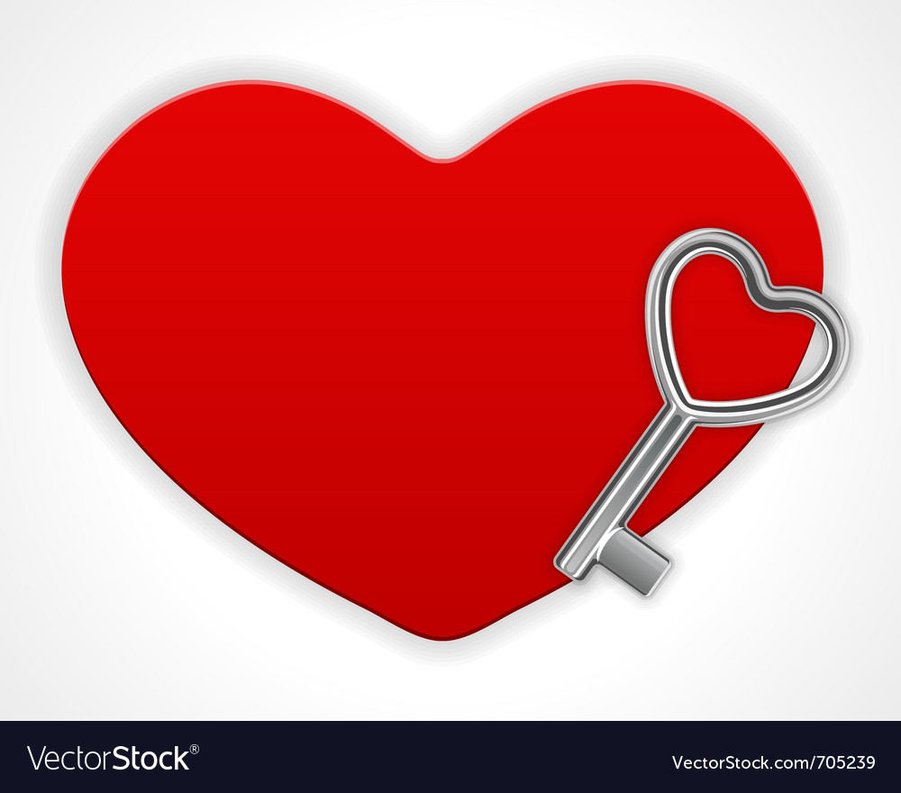 Red shiny heart card with key vector | Price: 1 Credit (USD $1)