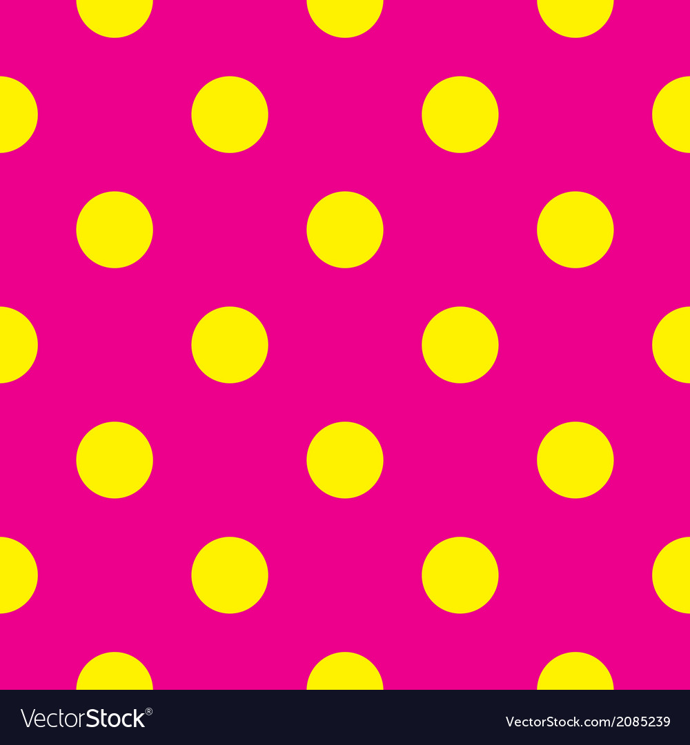 Tile yellow polka dots on pink background vector | Price: 1 Credit (USD $1)
