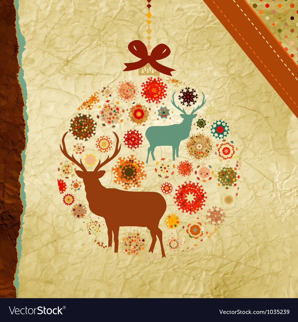 Vintage christmas deer pattern vector | Price: 1 Credit (USD $1)