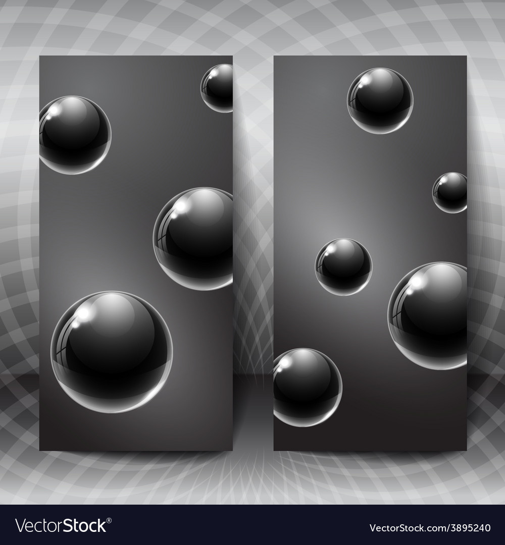Abstract figures with black glass balls inside vector | Price: 1 Credit (USD $1)