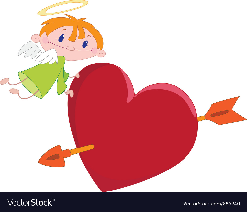 Angel boy and heart vector   Price: 3 Credit (USD $3)