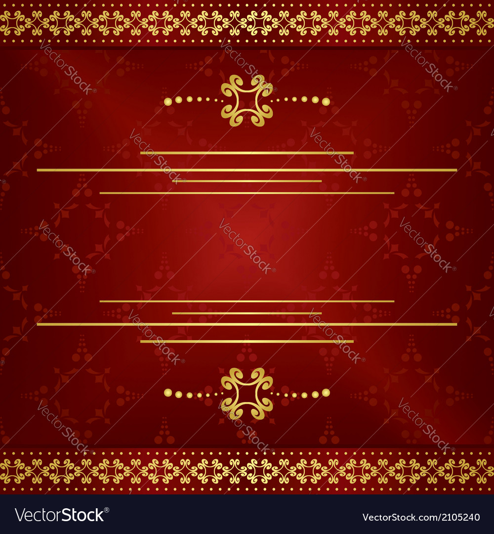 Bright dark red elegant card with gold decor vector | Price: 1 Credit (USD $1)