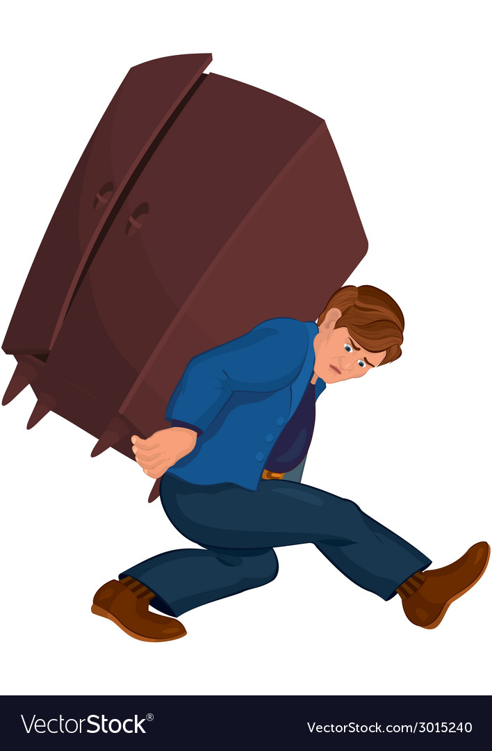 Cartoon man holding heavy furniture vector | Price: 1 Credit (USD $1)