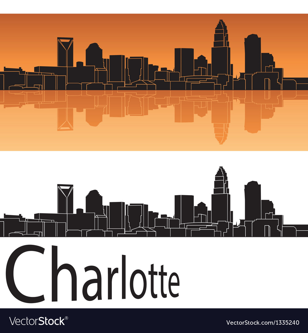 Charlotte skyline in orange background vector | Price: 1 Credit (USD $1)