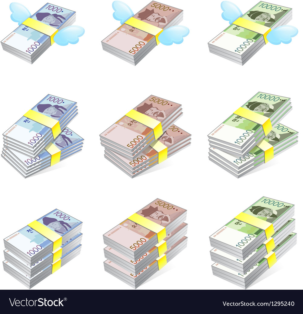 Different styles of korea paper money sets vector | Price: 1 Credit (USD $1)