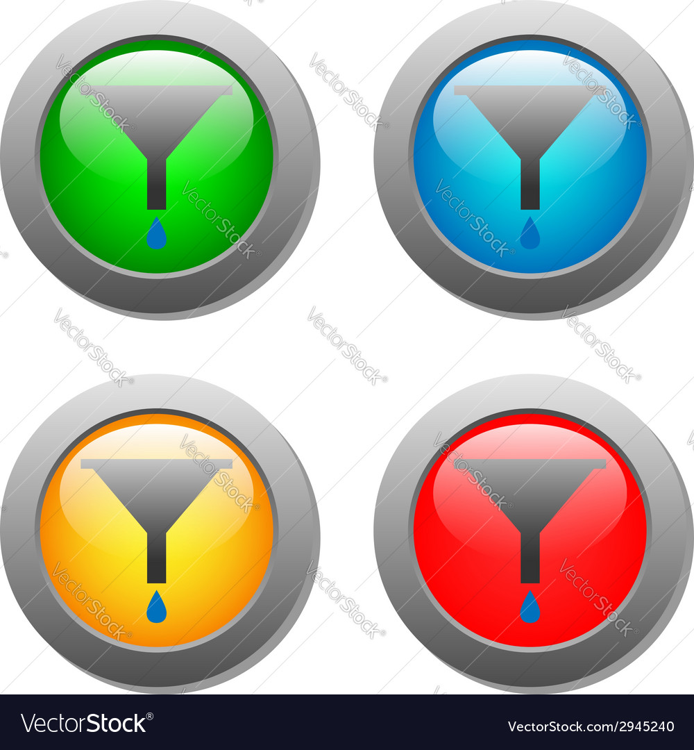 Funnel icon with drops set on glass buttons vector | Price: 1 Credit (USD $1)