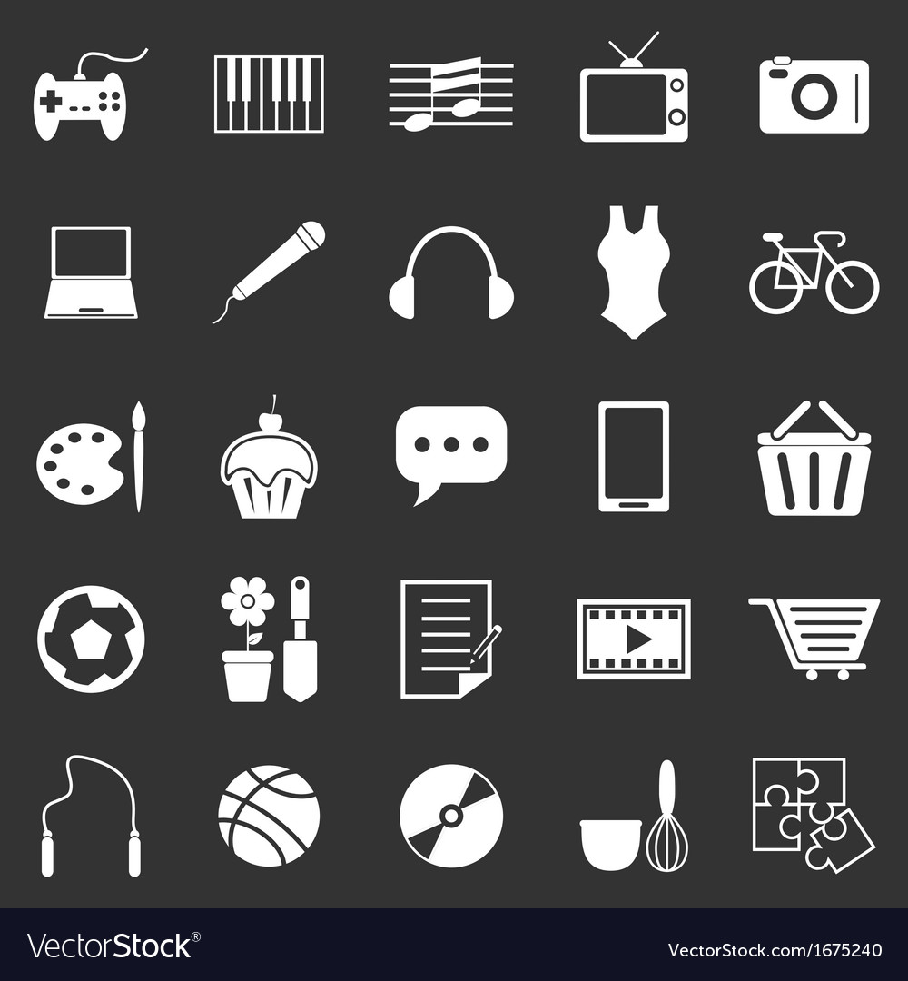 Hobby icons on black background vector | Price: 1 Credit (USD $1)