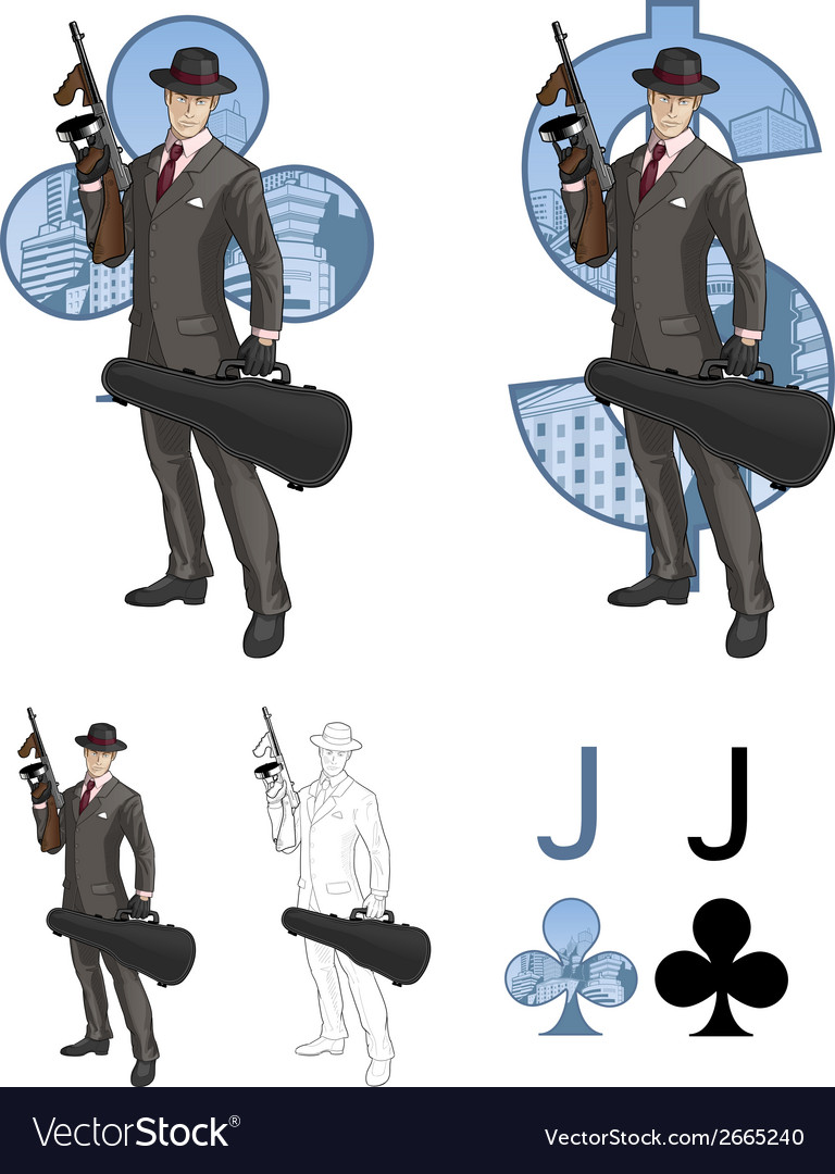 Jack of clubs mafioso with tommy-gun mafia card vector | Price: 3 Credit (USD $3)