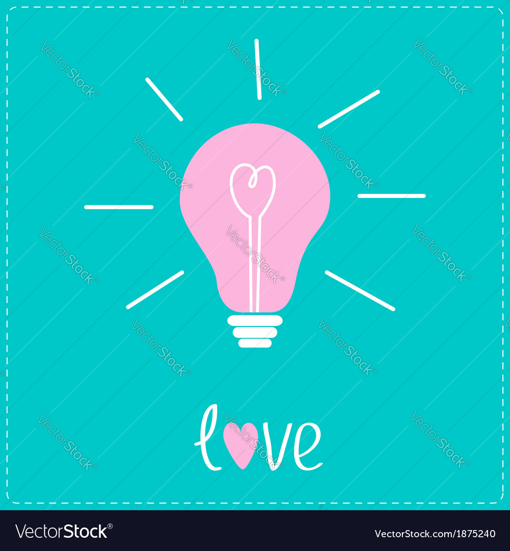 Pink bulb with heart inside idea concept love card vector   Price: 1 Credit (USD $1)