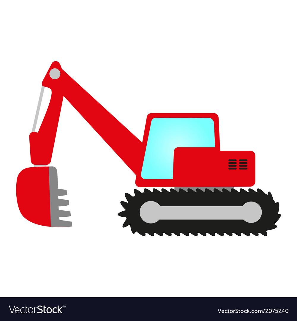 Red excavator vector | Price: 1 Credit (USD $1)