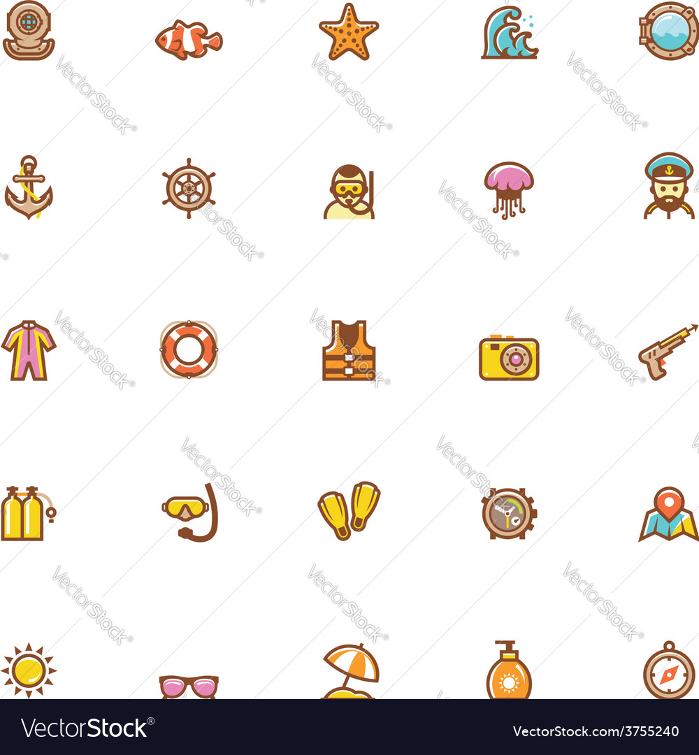 Sea vacations icon set vector | Price: 1 Credit (USD $1)