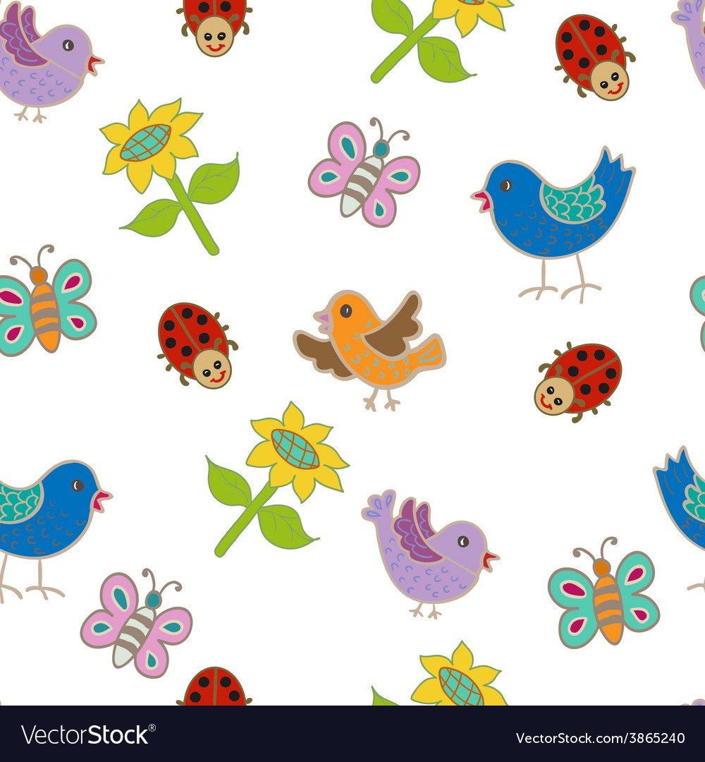 Seamless pattern with birds and butterflies vector   Price: 1 Credit (USD $1)