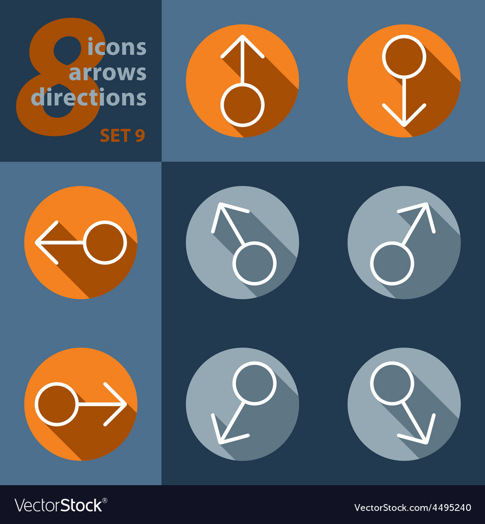 Set of eight icons with arrows in all directions vector | Price: 1 Credit (USD $1)