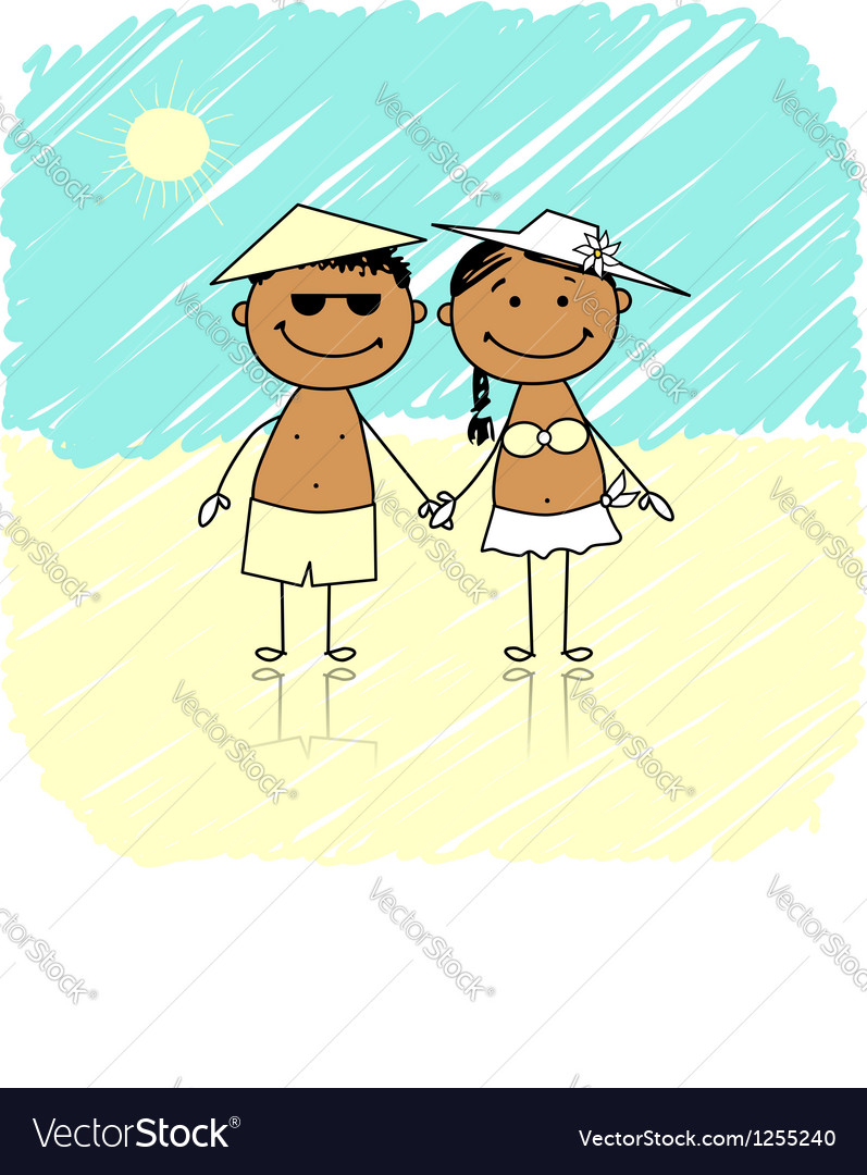 Summer holidays happy couple on the beach vector | Price: 1 Credit (USD $1)
