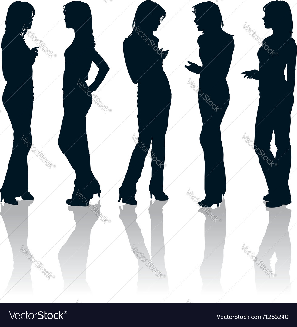 Young women gesturing silhouettes vector | Price: 1 Credit (USD $1)