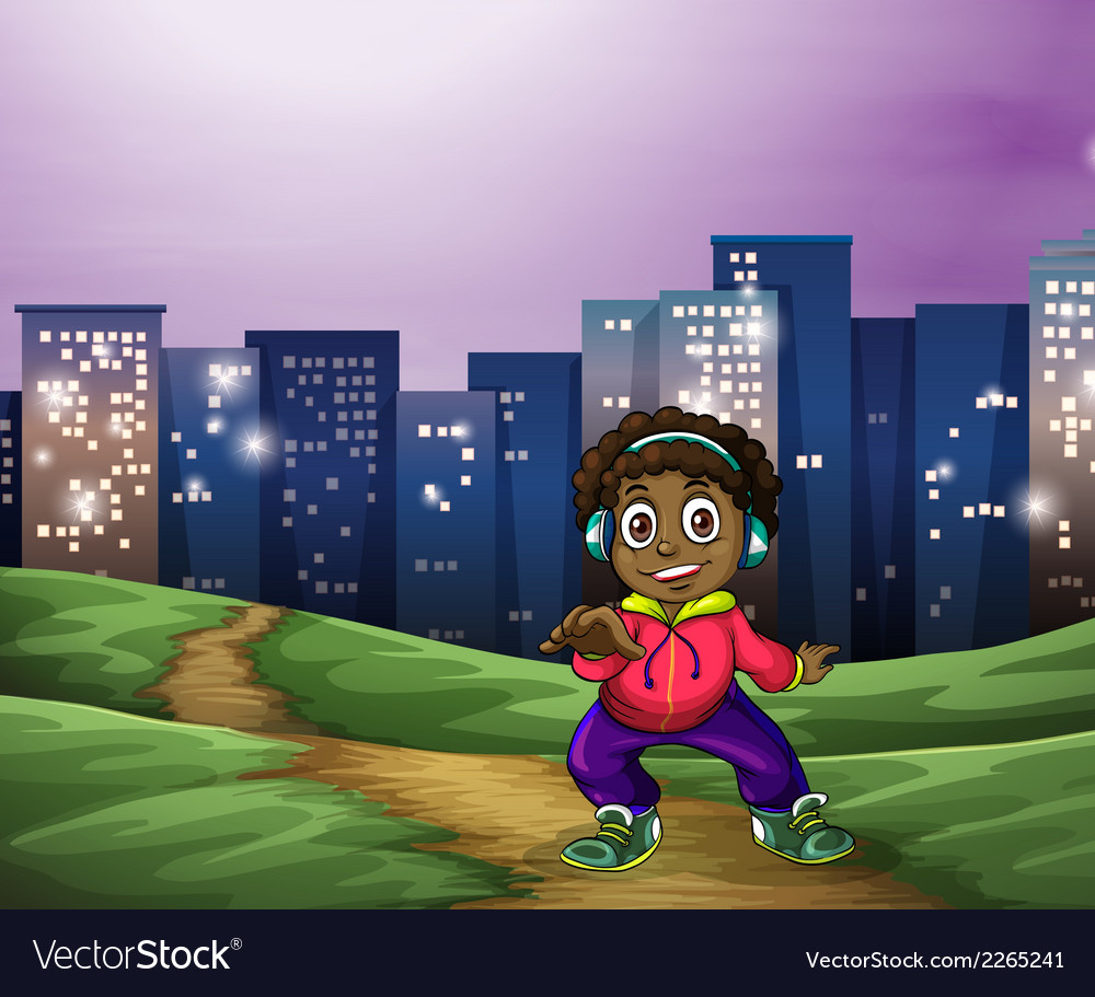 A black man dancing across the tall buildings vector | Price: 1 Credit (USD $1)