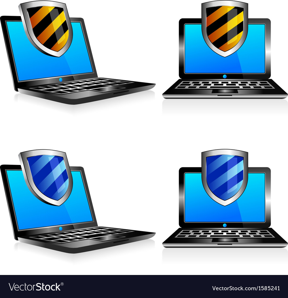 Computers laptops shield vector | Price: 1 Credit (USD $1)