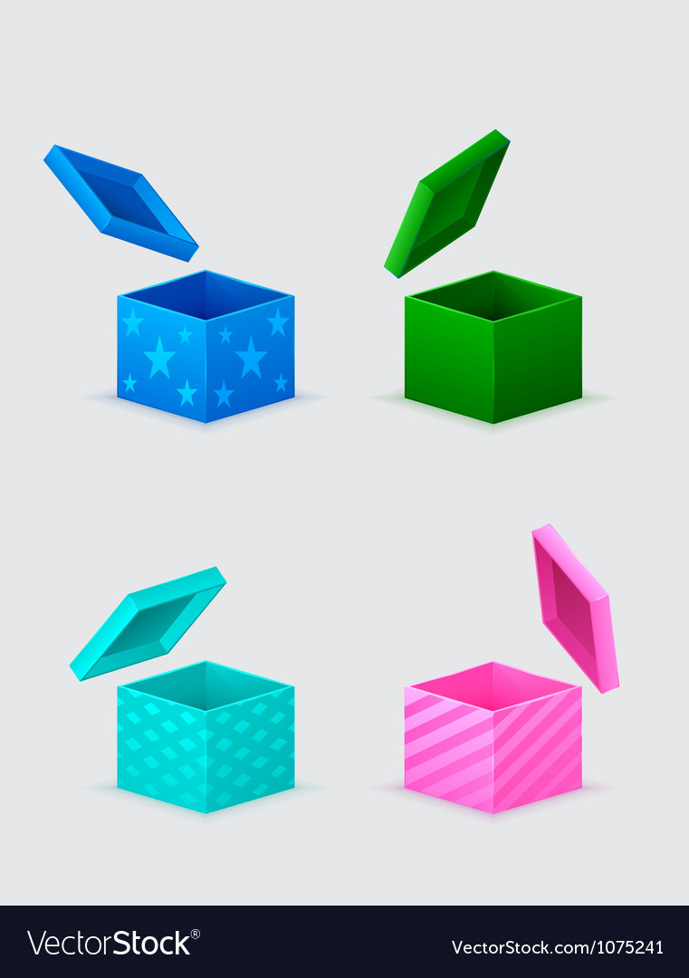 Four gift boxes and flying cover over them vector | Price: 1 Credit (USD $1)