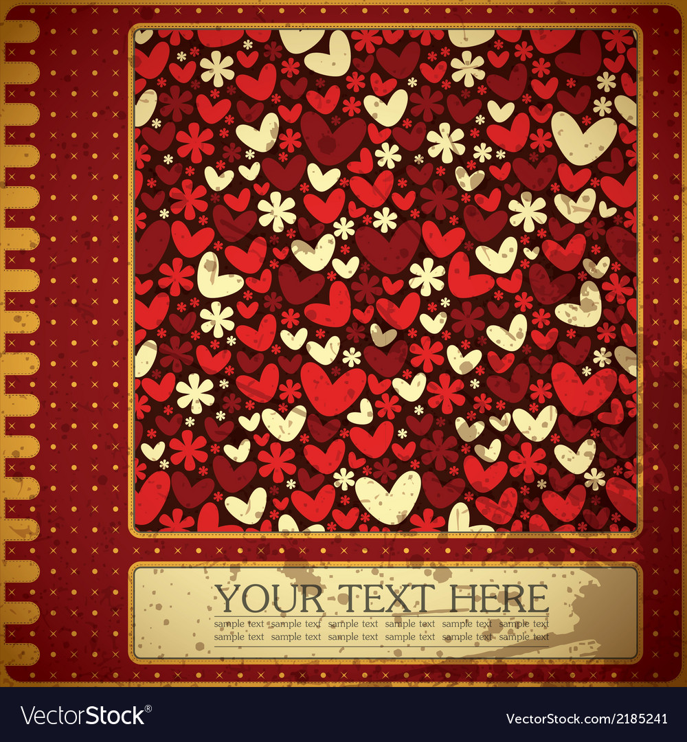 Grunge card with flowers and hearts vector | Price: 1 Credit (USD $1)