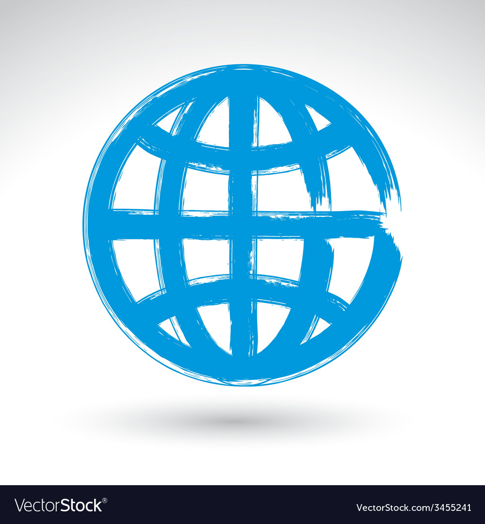 Hand-painted earth globe icon isolated on white vector | Price: 1 Credit (USD $1)
